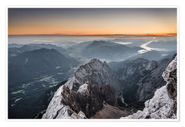 Poster Premium  Sunrise from Zugspitze mountain with view across the alps - Andreas Wonisch