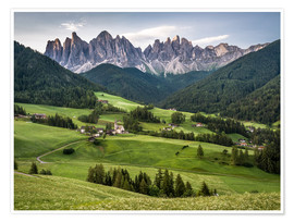 Poster Premium View over Funes in the Dolomites