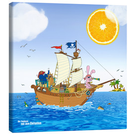Stampa su tela  Pirate ship in search of treasure