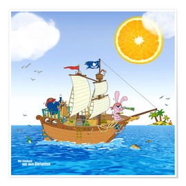 Poster Premium  Pirate ship in search of treasure