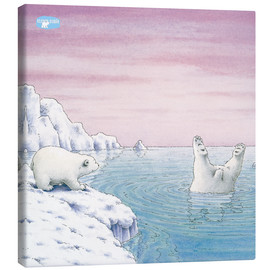 Stampa su tela  The Little Polar Bear at splash