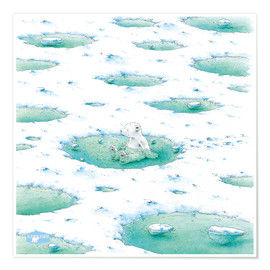 Poster Premium  The Little Polar Bear in the bath