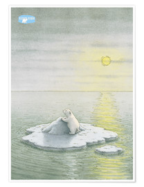 Poster Premium  The Little Polar Bear on the ice floe