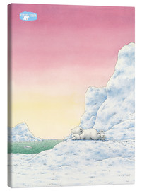 Stampa su tela  The Little Polar Bear while thinking