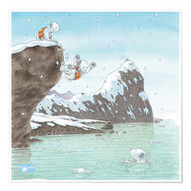 Poster Premium  The Little Polar Bear, into the water!