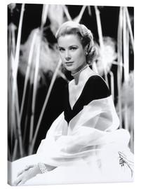 Stampa su tela  Grace Kelly with a tulle shawl
