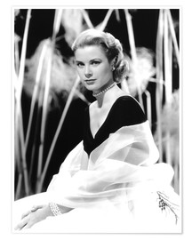 Poster Premium  Grace Kelly with a tulle shawl