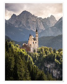 Poster Premium  Neuschwanstein Castle in front of the Alps - Andreas Wonisch