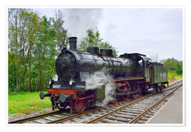 Poster Premium  Old Steam Locomotive in the Black Forest - FineArt Panorama