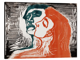 Stampa su alluminio  Man and woman is kissing - Edvard Munch