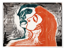 Poster Premium  Man and woman is kissing - Edvard Munch