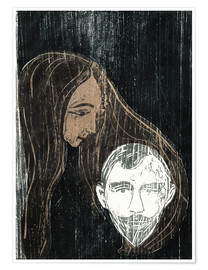 Poster Premium  Male Head with Woman's Hair - Edvard Munch