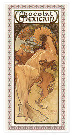 Poster Premium  Chocolat Mexicain, Autunno - Alfons Mucha