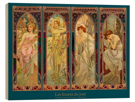 Stampa su legno  Les heures du jour, nuit collage - Alfons Mucha
