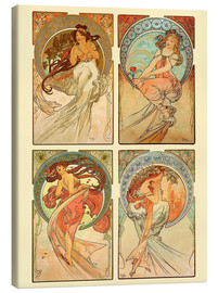Stampa su tela  The four arts, collage - Alfons Mucha