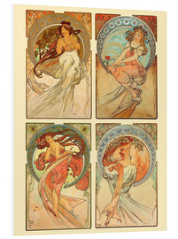 Stampa su schiuma dura  The four arts, collage - Alfons Mucha