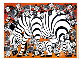 Poster Premium  Zebra mother with baby - Zuberi