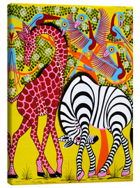 Stampa su tela  Zebra with Giraffe in the bush - Omary