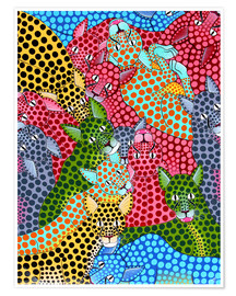 Poster Premium  Colorful Cheetah meeting - Omary