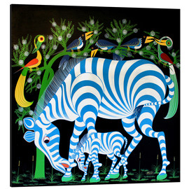 Stampa su alluminio  Blue Zebras at night - Rafiki