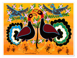 Poster  Turkeys in the bush - Tingatinga