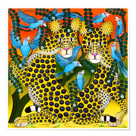 Poster  Cheetahs united in the twilight - Omary