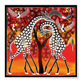 Poster Premium  Giraffes cuddle under a tree - Mangula