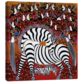 Stampa su tela  Zebra with a large flock of birds - Hassani