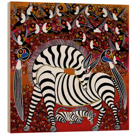 Legno  Zebra with a large flock of birds - Hassani