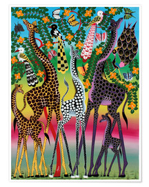 Poster Premium  Giraffes in African colors - Maulana