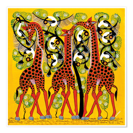 Poster Premium  Giraffe Trio and flock of birds - Chiwaya