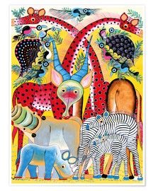 Poster Premium  Colorful wild animals of Africa - Lewis