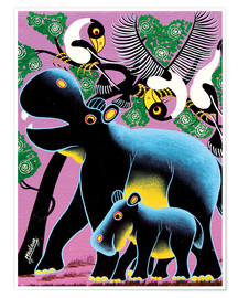 Poster Premium  Black Hippo Mother and Child - Maulana