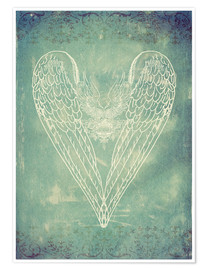 Poster Premium Vintage Winged Heart