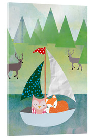 Stampa su vetro acrilico  Cute Owl and Fox Boat - GreenNest
