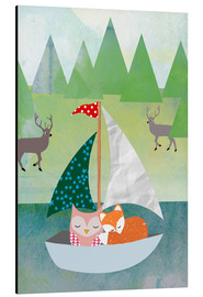 Stampa su alluminio  Cute Owl and Fox Boat - GreenNest