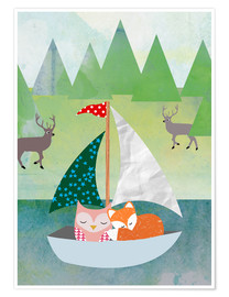 Poster Premium Cute Owl and Fox Boat