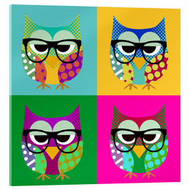 Stampa su vetro acrilico  Pop Art Owls - GreenNest