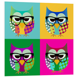 Stampa su schiuma dura  Pop Art Owls - GreenNest