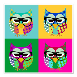 Poster Premium  Pop Art Owls - GreenNest