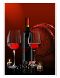 Poster Premium Two wine glasses with red wine bottle and grapes