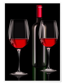 Poster Premium Red wine, red wine bottle with two glasses of red wine