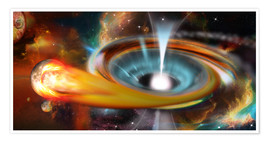 Poster Premium Black hole with Pulsar, universe, galaxy