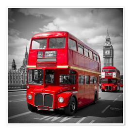 Poster Premium  LONDON Red Buses - Melanie Viola