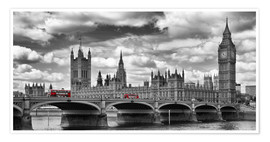 Poster Premium  LONDON Westminster Bridge Panoramic - Melanie Viola