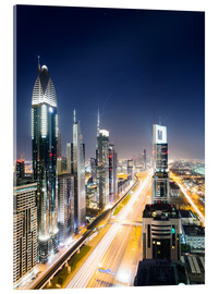 Stampa su vetro acrilico  Dubai city skyline at night, United Arab Emirates - Matteo Colombo