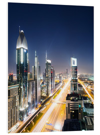Stampa su schiuma dura  Dubai city skyline at night, United Arab Emirates - Matteo Colombo