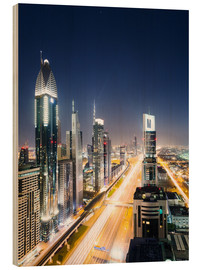 Stampa su legno  Dubai city skyline at night, United Arab Emirates - Matteo Colombo