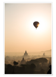 Poster Premium  Sunrise with balloon, Bagan - Matteo Colombo