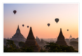 Poster Premium  Balloons and temples, Bagan - Matteo Colombo